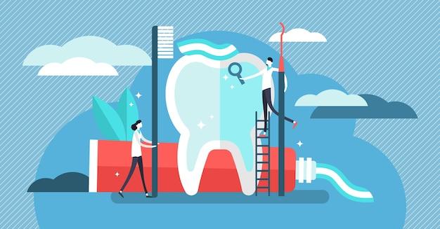 歯科医のイラスト。歯磨き粉のコンセプトを持つミニ人。