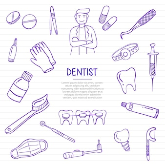 Dentist job or jobs profession doodle hand drawn with outline style on paper books line