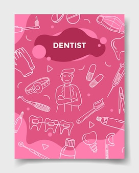 Dentist jobs career with doodle style for template of banners, flyer, books, and magazine cover