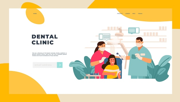Dentist landing page. patient examination at doctor office concept, tooth care and and dentist checkup