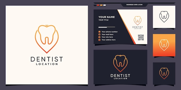 Dentist location logo template with pin point line art style and business card design premium vector