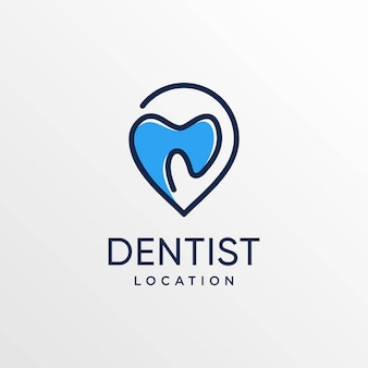 ラインアートスタイルと名刺デザインテンプレート、歯、ケア、場所、地図、ポイント、ピンと歯科医の場所のロゴ、