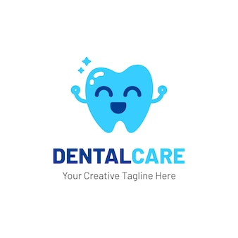 Dentist logo with teeth and happy face