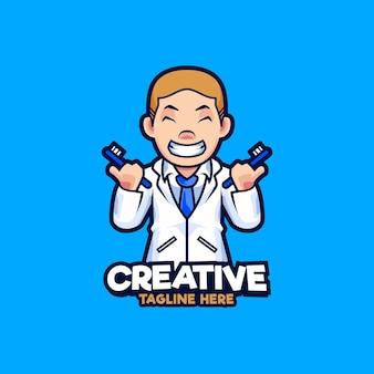 치과 마스코트 로고 디자인 일러스트입니다. 칫 솔 벡터 일러스트 레이 션을 들고 의사