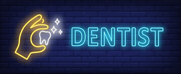 Dentist neon text with hand holding glowing tooth