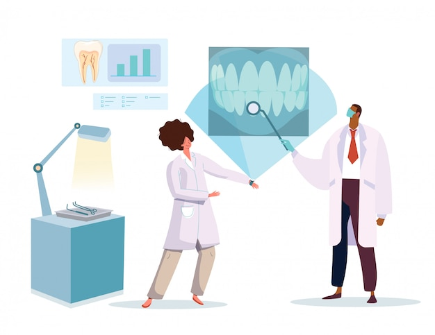 Dentist and nurse looking at x ray picture of healthy teeth, vector illustration