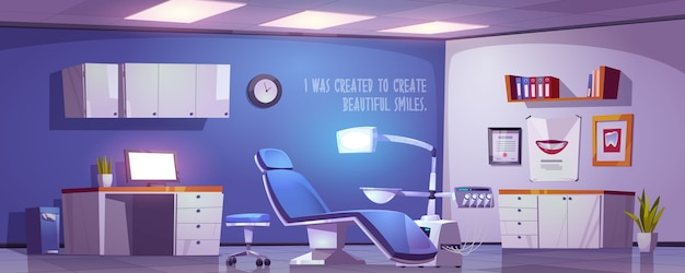Dentist office, dental clinic practice room interior, stomatology cabinet, orthodontist workplace with modern chair equipped with integrated engine and surgical light unit, cartoon illustration