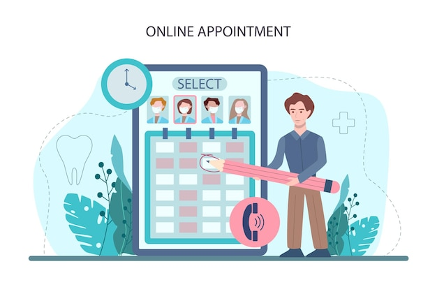 치과 온라인 서비스 또는 플랫폼. 제복을 입은 치과 의사