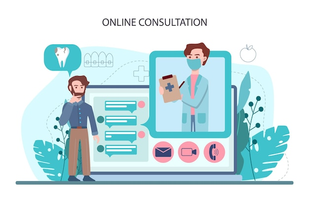 歯科医のオンラインサービスまたはプラットフォーム。均一な治療の歯科医