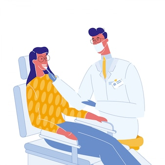Dentist and patient color vector illustration