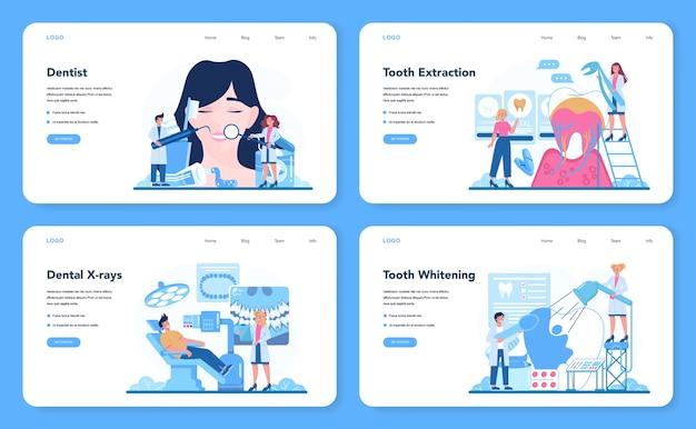 Dentist profession web banner or landing page set
