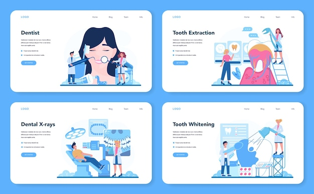치과 의사 직업 웹 배너 또는 방문 페이지 세트