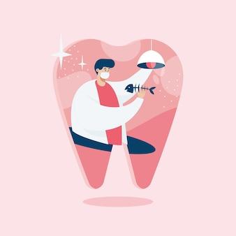 Исследование стоматолога, иллюстрация в мультяшном стиле