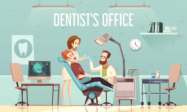 Dentist's office illustration Free Vector