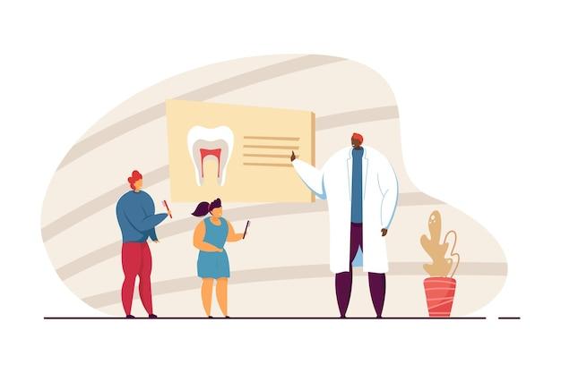 歯磨きについて子供たちに教える歯科医。歯ブラシを持つ子供、ボードフラットベクトルイラストを指す男。教育、バナー、ウェブサイトのデザインまたはランディングウェブページの口腔病学の概念