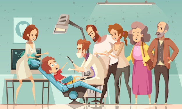 Dentist treating child illustration