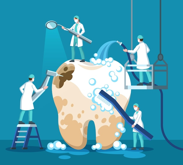 歯を治療する歯科医。小さな口内科医、医者は歯磨き粉、歯ブラシ、医療器具で大きな不健康な歯をきれいにし、虫歯を穴あけし、歯垢除去手順歯科ベクトルの概念をきれいにします