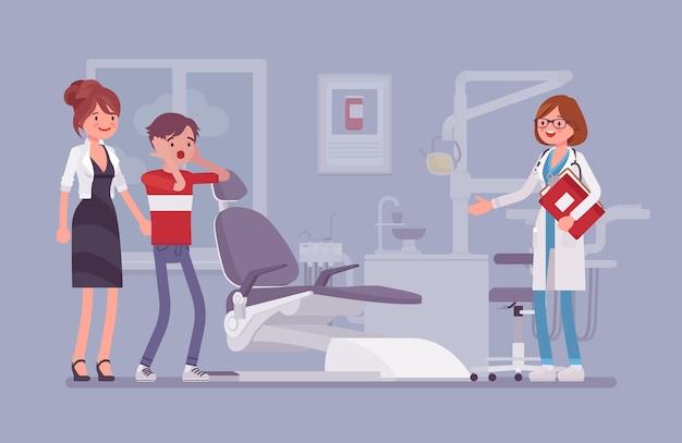 Посещение стоматолога в плоском дизайне