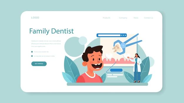 制服を着た歯科医のウェブバナーまたはランディングページの歯科医
