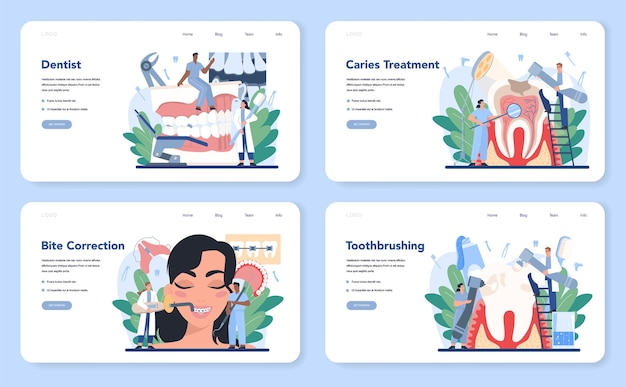 Веб-макет стоматолога или набор целевой страницы. врач-стоматолог в униформе лечит человеческие зубы с помощью медицинского оборудования. идея ухода за зубами и полостью рта. лечение кариеса.