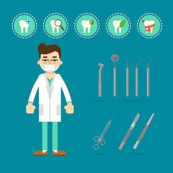 歯とツールを持つ歯科医