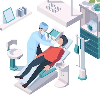 Dentist working. doctor consulting patient recommendation for hygiene teeth dentist medical cabinet vector isometric illustration. doctor healthcare and examination teeth