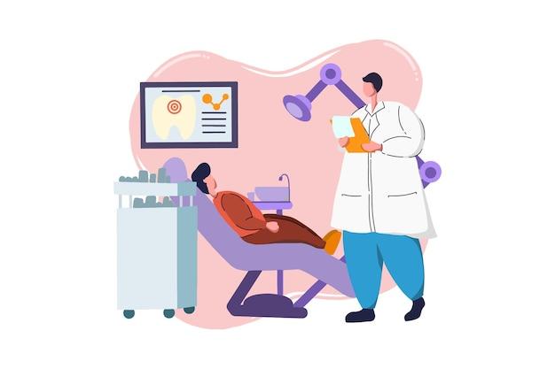 Dentist working on patient medical web illustration
