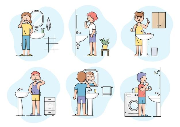 歯科とヘルスケアの概念。男の子と女の子がバスルームで歯ブラシで歯を掃除するキャラクターのセットです。口腔衛生管理と歯科。