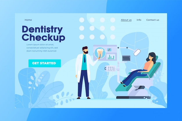 Dentistry checkup online appointment, dental clinic patient, vector illustration