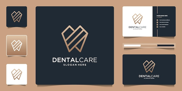 Dentistry clinic logo design with geometric line abstract dental logo and business card