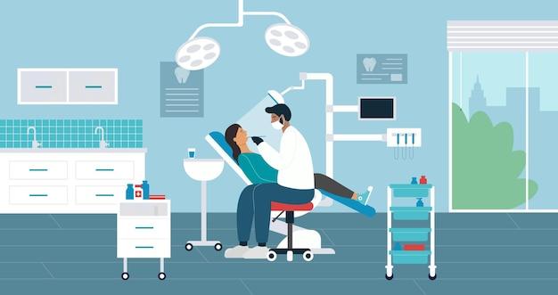 Иллюстрация осмотра медицины клиники стоматологии.