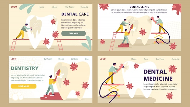 Dentistry and dental clinic medicine care  landing page template
