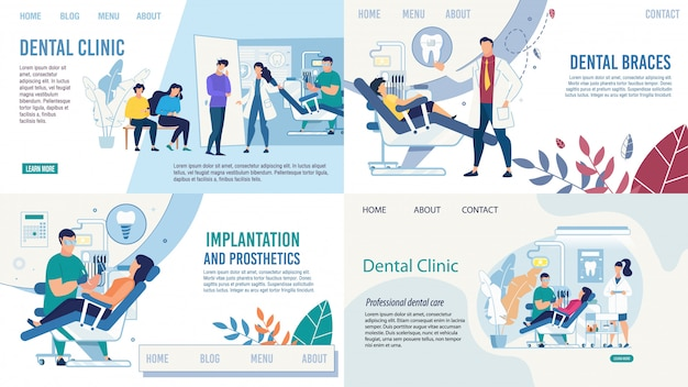 Dentistry healthcare services landing page set