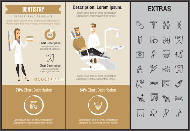 Dentistry infographic template, elements and icons