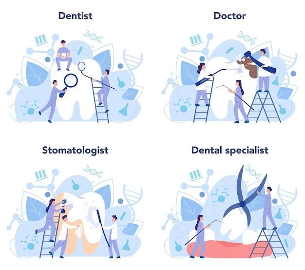 制服を着た歯科医が医療機器セットを使用して歯を治療します