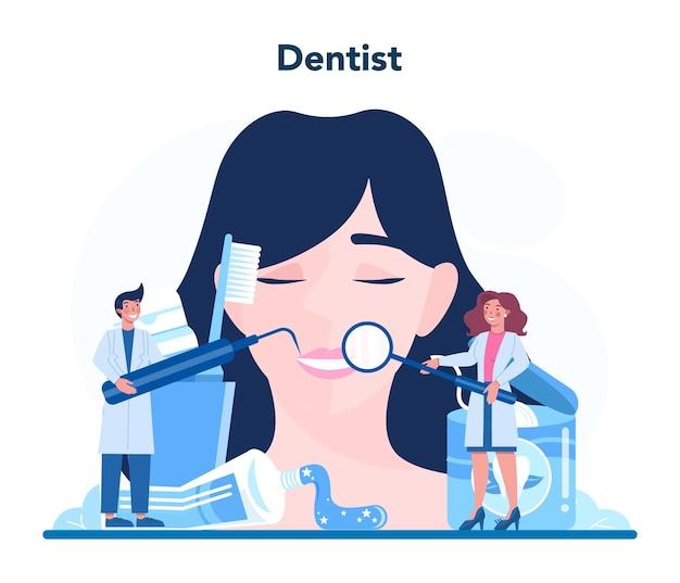 制服を着た歯科医が歯を使って治療する