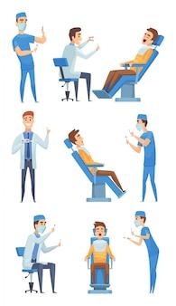 歯科医の医療用品。歯科医クリニックの口の診断キャビネットの写真のためのヘルスケアキャラクターの歯科機器