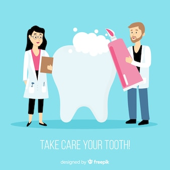 Dentists taking care of a tooth background