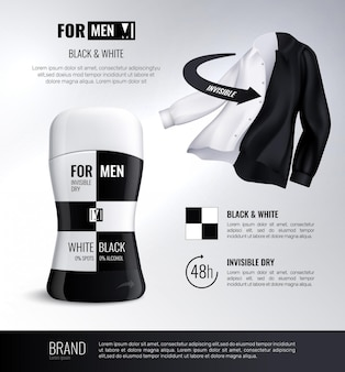 Deodorant bottle black and white composition with 48 hour invisible dry advertising text realistic