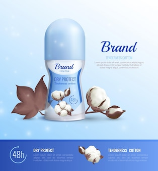 Deodorant bottles realistic poster of different shapes with advertising of 48 hour dry protect and tenderness cotton realistic