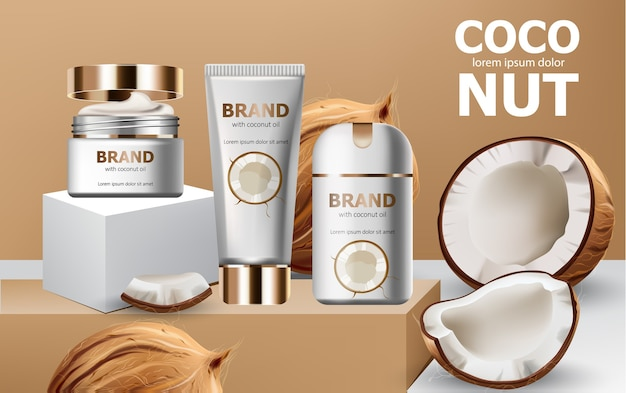 Deodorant and creams on podiums surrounded by whole and cracked open coconuts. realistic. . place for text