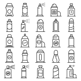 Deodorant icons set, outline style