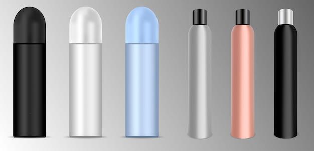 Deodorant or lacquer spray bottles set. vector