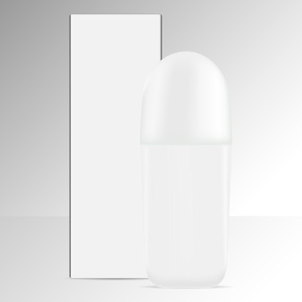 Deodorant roll bottle isolated background.