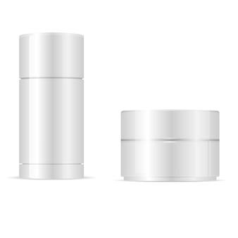 Deodorant stick, cream jar round cosmetic set