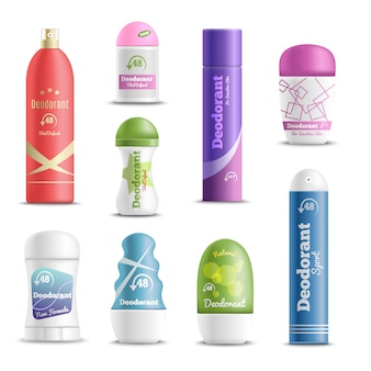 Deodorants spray sticks realistic set