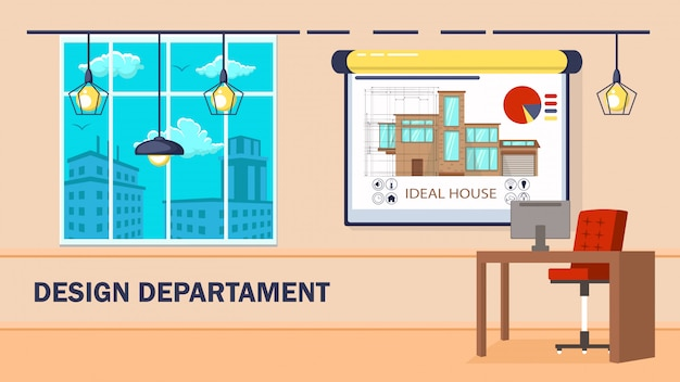 Department interior design vector illustration