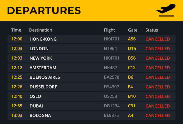 Departure board with all flights cancelled status.