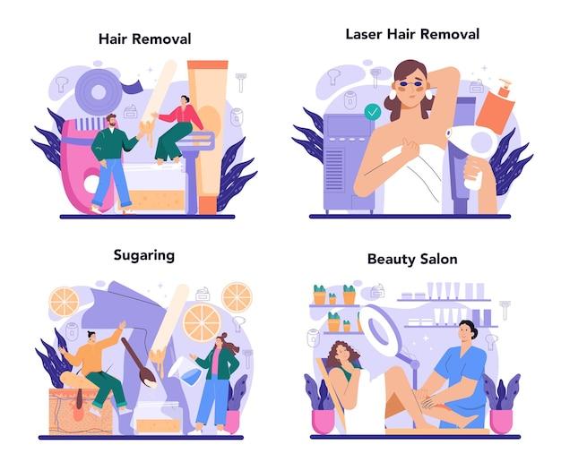 Набор концепций депиляции и эпиляции методы удаления волос идея тела