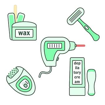 脱毛および脱毛器具セット。ワックス、レーザー、クリーム、かみそり、エピレーター